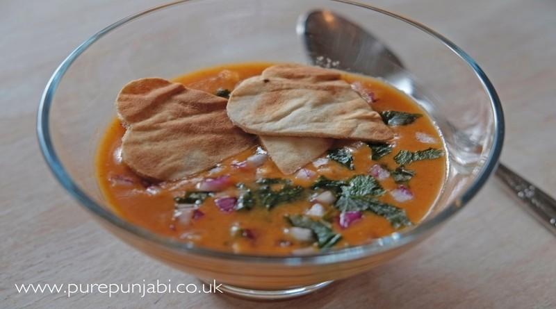 Pure Punjabi - recipe pic Roasted garlic and tomato soup