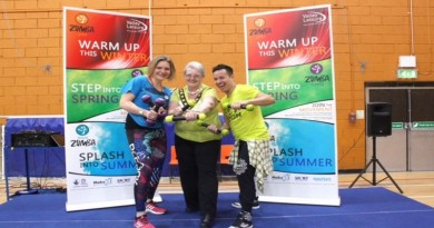 Andover golden oldies Zumba 3. (left to right) Liz Murray from Valley Leisure, Test Valley mayor Iris Anderson and Zumba instructor Hender Corredor-Escalante