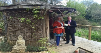 Cllr Carr presents cheque to Rhonda Cleary