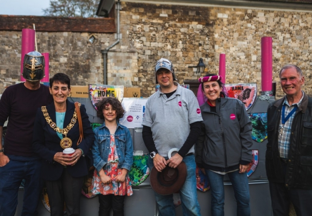 Mayor of Winchester 2015-16, Angela Clear, with members of the team from Osborne Construction, and their cardboard castle