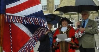 Test Valley Mayor Cllr Karen Hamilton raising the Armed Forces Day flag