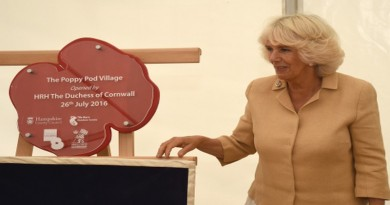 HRH Duchess of Cornwall unveiling the Poppy Pod plaque