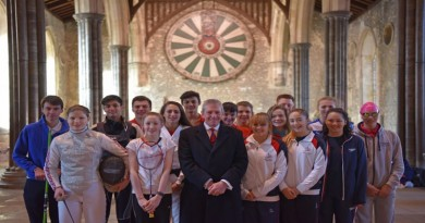 Councillor Andrew Gibson with the current crop of Hampshire Talented Athletes at the Great Hall, Winchester