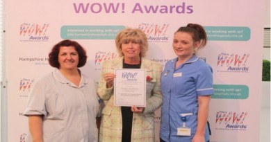 Women's Health – Housekeeper Anna Sutherland and nurse Rosie Cooper from the women's health department with Kim Leitch from The WOW! Awards