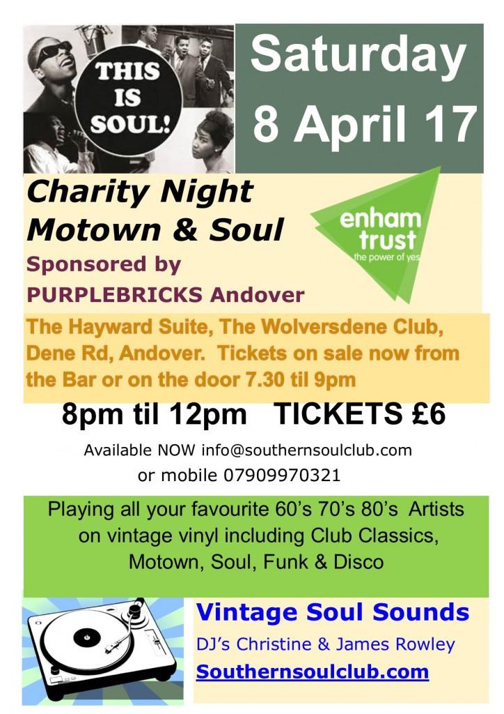 8 April Enham Motown Flyer Sponsor Purple Brikcs