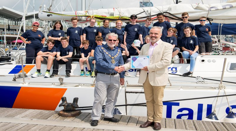 Tall_ships_donation_-_mike_wilks_with_richard_leaman_cb_obe_chief_executive_officer___tall_ships_youth_trust