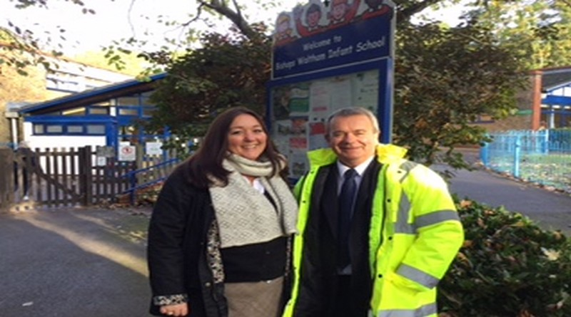 Cllr Rob Humby, Executive Member for Environment and Transport walked to school with Mrs Ginene Riches, Headteacher at Bishops Waltham Infant School as part of Walktober