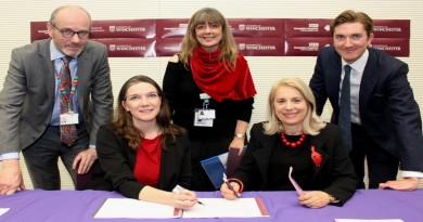 (Left to right): Professor John Ramage; Alex Whitfield; Barbara Parry; Professor Joy Carter; Professor Simon Jobson