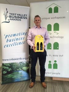 James Gibbons collects his entry prize from TVBAwards2018