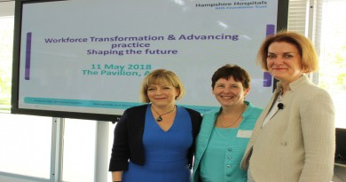 Jane Cummings, chief nurse NHS England, Donna Green, chief nurse of Hampshire Hospitals NHS Foundation Trust and Suzanne Rastrick, chief allied health professional officer of NHS England