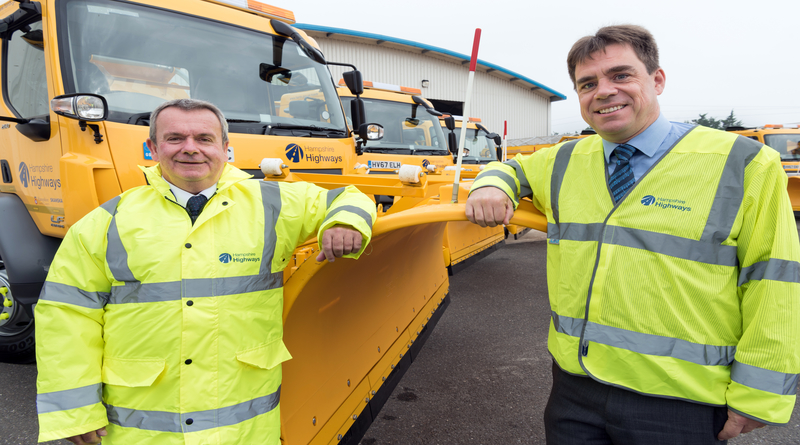 Cllr Rob Humby (left) with Matthew Riches (right) Skanksa's Business Director for Hampshire Highways