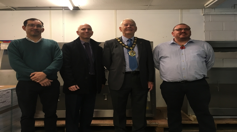 Peter Speirs, Paul Tilley, The Mayor and Ieuan Wathen during mayoral visit