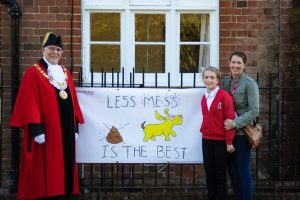 Durley Primary School poster competition winner Jessica Innes with Mayor of Winchester Cllr Frank Pearson