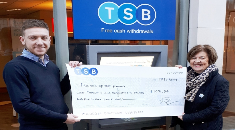Winchester's TSB branch raises over £1,000 for Friends of the Family