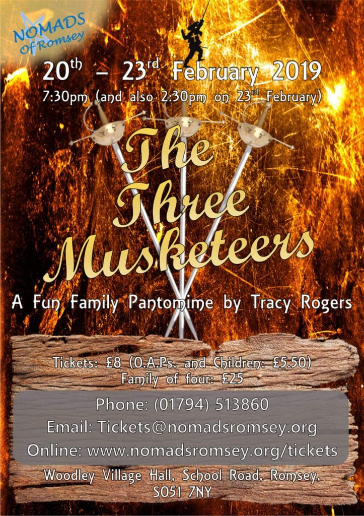 "NOMADS ANNUAL PANTO THIS YEAR IS ""THE THREE MUSKETEERS"