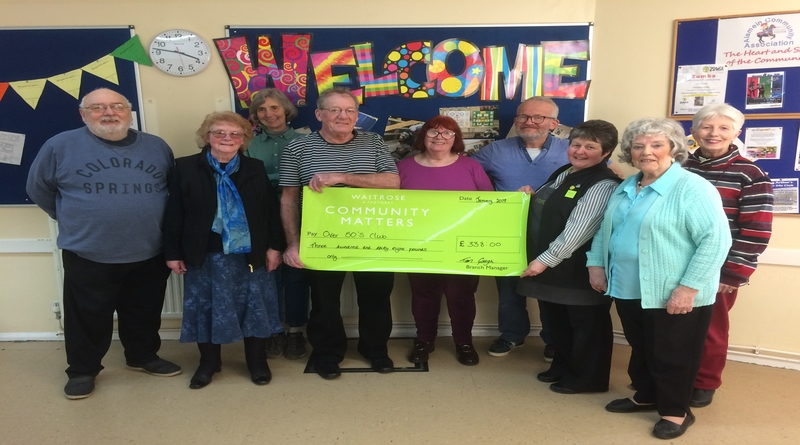 Local over 50's group receives donation from Waitrose Community Matters green token scheme