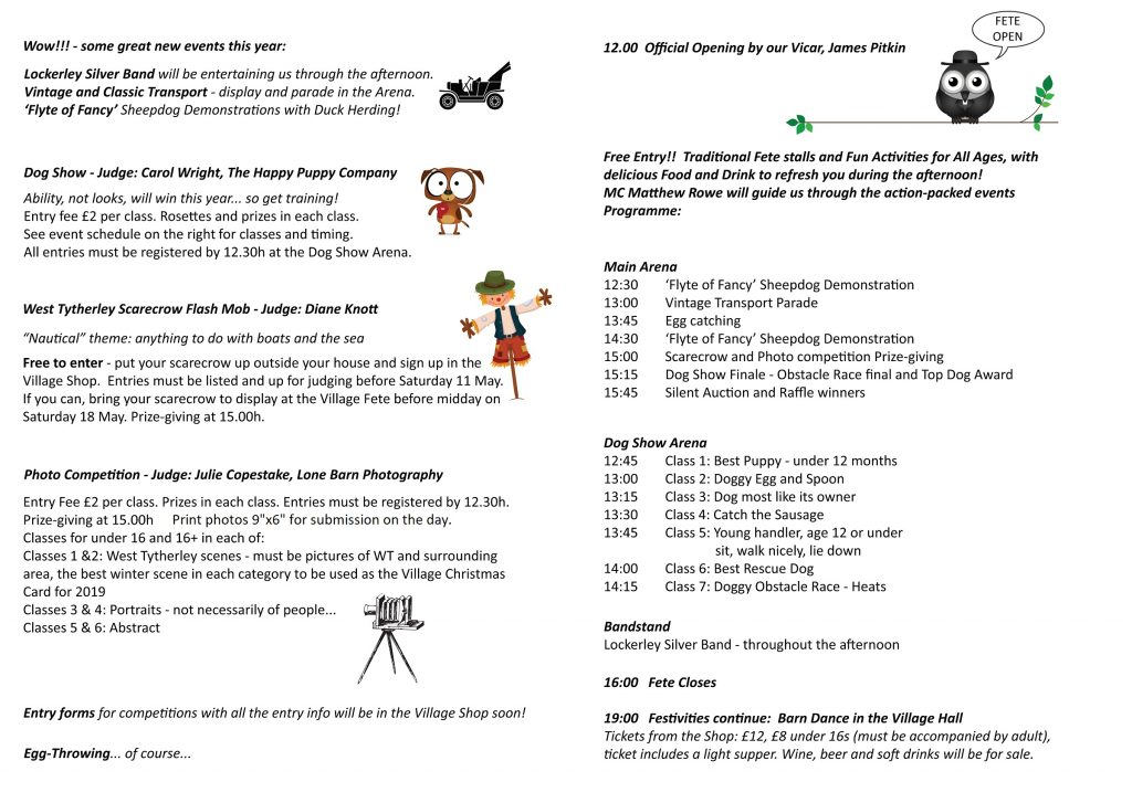 West Tytherley and Frenchmoor Village Fete Details
