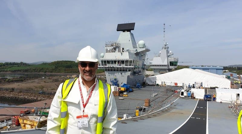 Naomi House Director of Fundraising Paul Morgan on HMS Prince of Wales flight deck