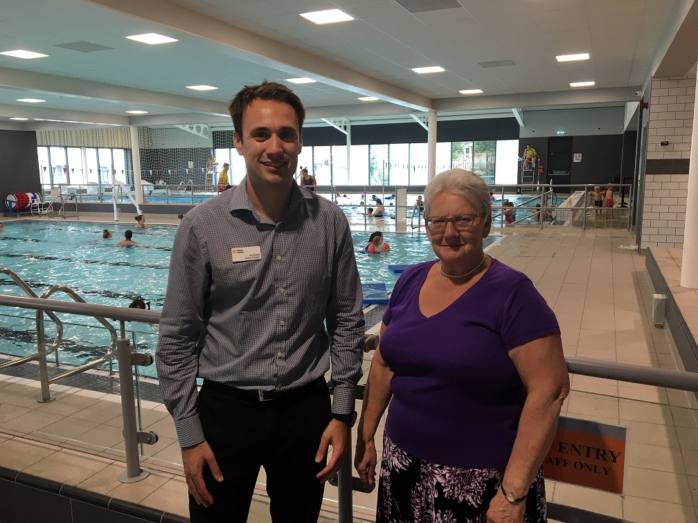 General Manager, Ian Souch at the Andover Leisure Centre swimming pool with Cllr Iris Andersen