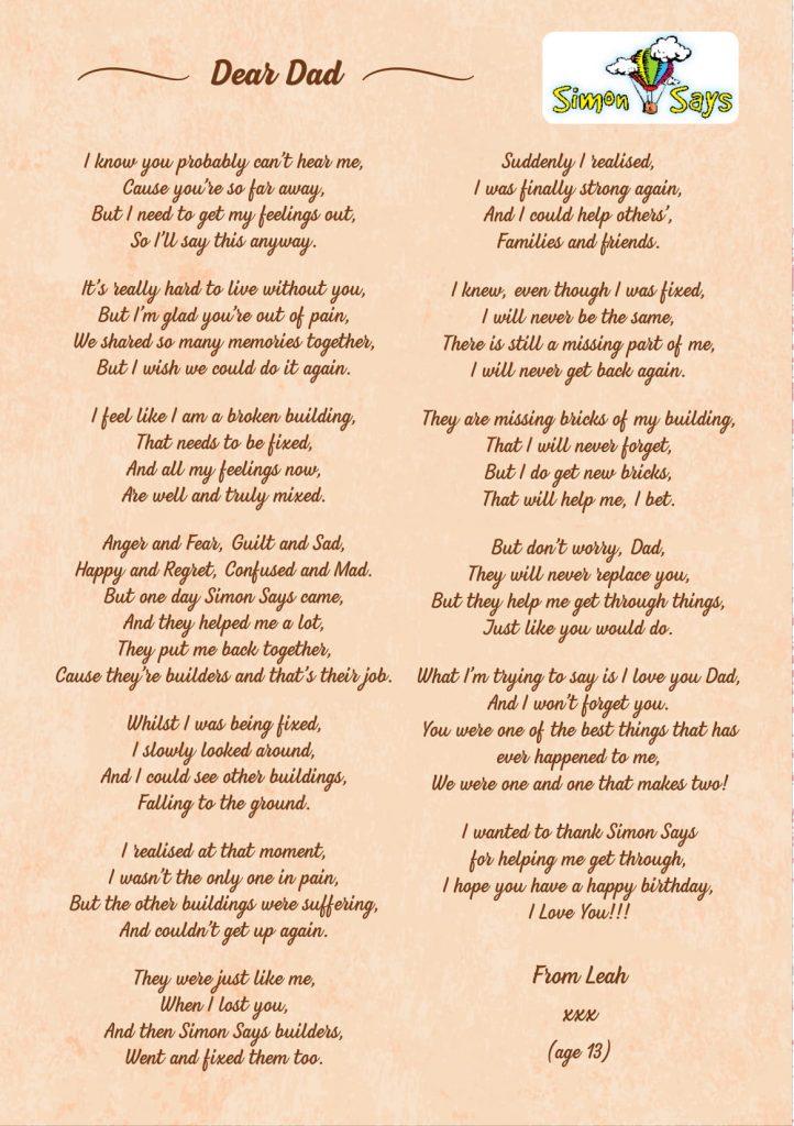 Dear Dad - Leah aged 13yrs