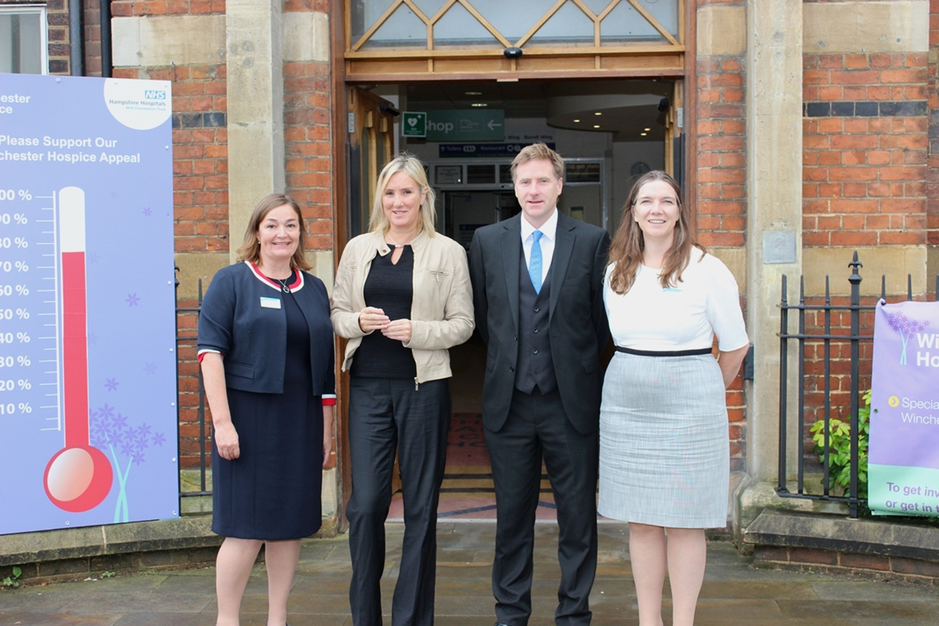 Dr Lara Alloway, chief medical officer at Hampshire Hospitals, Caroline Dinenage MP, Steve Brine MP and Alex Whitfield, chief executive of Hampshire Hospitals