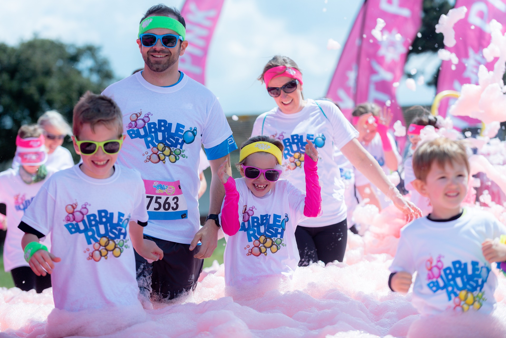 Bubble Rush charity event to raise funds for Naomi House and Jacksplace held on Southsea Common, Portsmouth, Hampshire