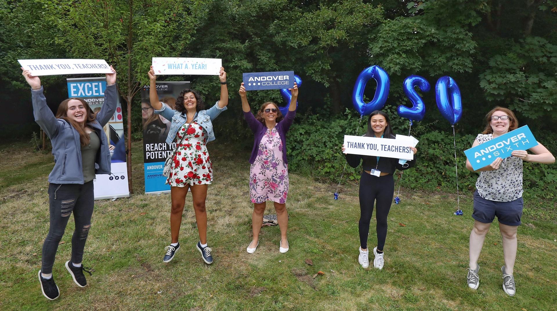 Andover College - Carina Walker, Tiga Davis, Salina Bura & Jessica Porter with their Science Teacher Claire Read