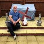 Brian Oakley with commemorative windmill
