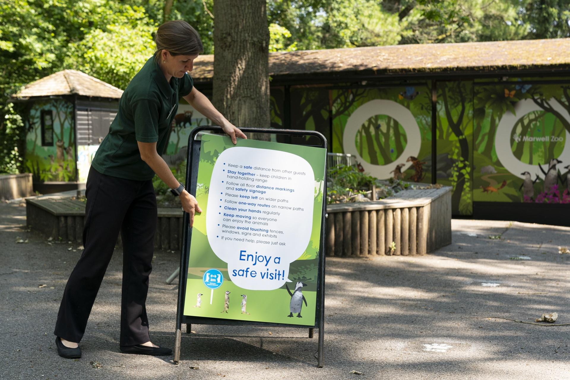 Zoo Photographer - Credit Jason Brown.Social Distancing signage