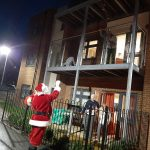 Santa greeting residents at Brendoncare Otterbourne Hill